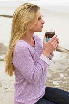Free Attractive Young Woman Morning At The Beach Stock Photo - 32161530