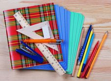 Free Notebooks,ruler,triangle, Pen And Pensil Royalty Free Stock Photo - 32165495