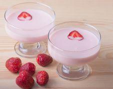 Free Strawberry Dessert With Yogurt , Selective Focus Stock Photo - 32166430
