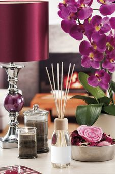 Still Life Of Home Lighting Candles Or Catalyst Lamp Stock Photo