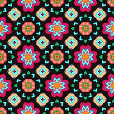 Geometric Flower Abstract Colorful Pattern On