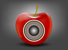 Free Red Apple With Speaker Stock Photography - 32180232