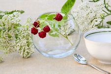 Bunch Of Raspberries In A Glass Bowl Royalty Free Stock Photos