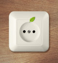 Free Outlet On Wooden Wall With Leaf. Go Green Power Concept. Stock Photo - 32194140