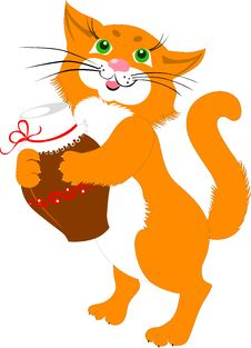 Free Red Cat With A Jug Of Milk Stock Images - 32197154