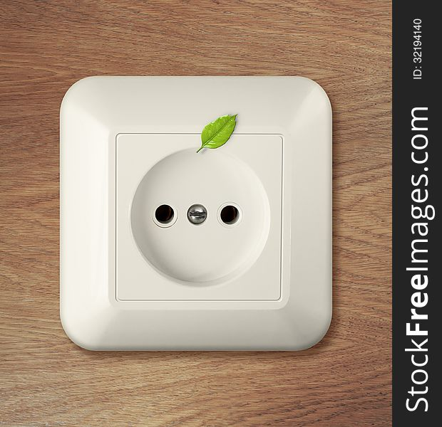 Outlet on wooden wall with leaf. go green power concept.