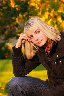 Girl On Autumn Background Stock Image