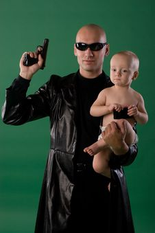 Man With Gun And Son Royalty Free Stock Photos