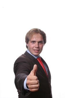 Free Young Business Man Showing Thu Royalty Free Stock Photography - 3221147