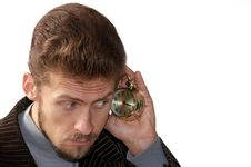 Free Man Listening Alarm Clock Stock Image - 3222551