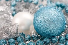 Free Blue And Silver Christmas Ball Royalty Free Stock Photo - 3222755