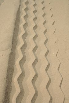 Free Tire Track In The Sand Stock Image - 3223561