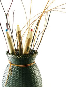 Free Coloured Pencils In Basket Stock Photos - 3225053