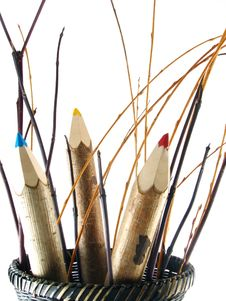 Free Coloured Pencils In Basket Royalty Free Stock Photo - 3225055