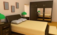 Free Cosy Bedroom Interior 3d Stock Photos - 3225923