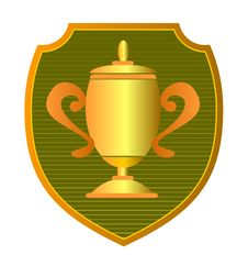 Free Gold Cup With Shield Stock Photo - 3226400