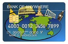 Free Credit Card With World Map Royalty Free Stock Images - 3226449