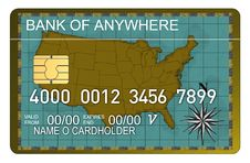 Credit Card With Map Of Usa Stock Photography