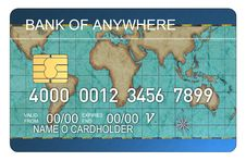 Free Credit Card With World Map Blu Royalty Free Stock Image - 3226486