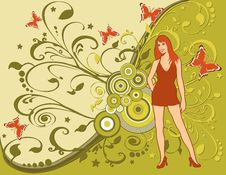 Free Grunge Lady Foliage Butterfly Royalty Free Stock Photos - 3227008