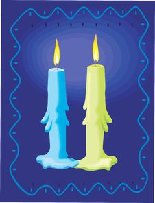 Two Candles Lighted Royalty Free Stock Photography