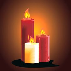 Free Three Candles Lighted Royalty Free Stock Photography - 3229607
