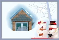 Free House And  Snowmen Royalty Free Stock Photography - 3229647
