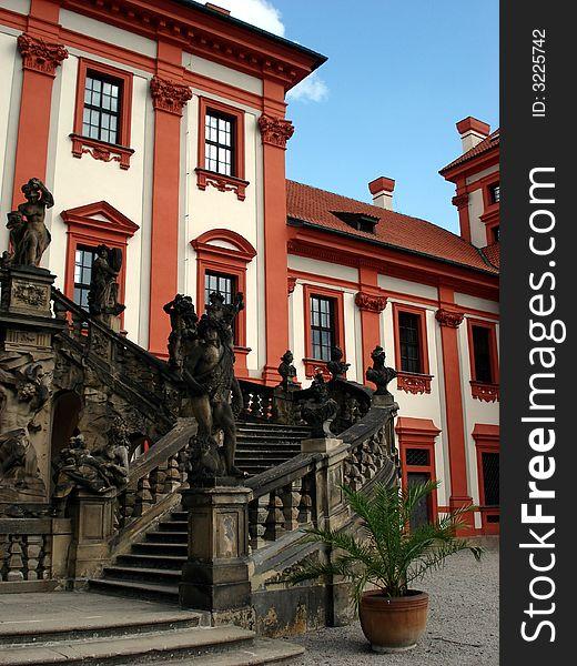 Troya castle,stairway,Prague