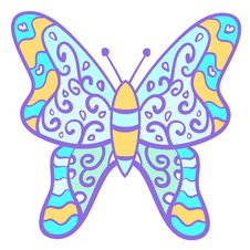 Funny Colorful Butterfly With Curls. Stock Photography