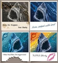 Free Postcard From Sharky Royalty Free Stock Photo - 32204485
