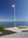Free USA Flag Over The Harbor Stock Photos - 32213013