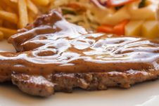 Pork Chop Steak With Black Pepper Gravy Royalty Free Stock Photo