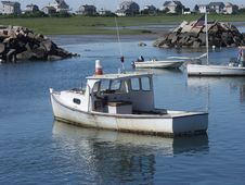 Free Maine Lobster Boats In Harbor. Stock Images - 32212944