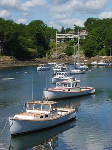 Free Maine Lobster Boats In Harbor. Royalty Free Stock Photos - 32213458