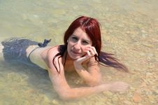 Young Lady In Water Stock Image