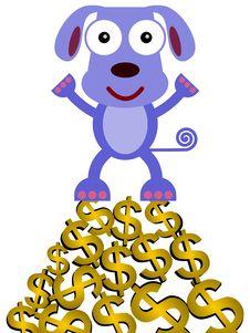 Free Dog On Dollars Stock Photography - 32227432