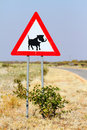 Free Road Sign Warning Of Warthogs Royalty Free Stock Image - 32235806
