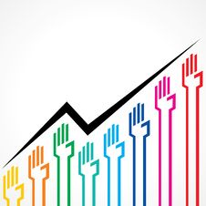 Free Business Graph Made By Colorful Hand Icons Stock Photos - 32231913