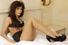 Beautiful And Sexy Woman Wearing Black Lingerie Royalty Free Stock Photography