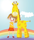 Free Little Girl And Giraffe Royalty Free Stock Photo - 32246865