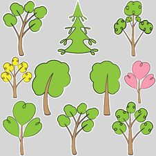Free Set Of Stylized Trees, Scribble Royalty Free Stock Photography - 32240027