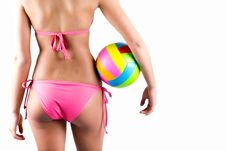 Free Volleyball Player Woman In Swimwear Stock Images - 32240224