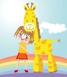Little Girl And Giraffe Royalty Free Stock Photo
