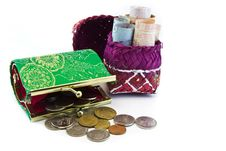 Free Money  With Purse On White Backdround. Royalty Free Stock Photo - 32251215
