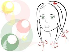Free Vector Image,  Beautiful Girl Royalty Free Stock Photography - 32257027