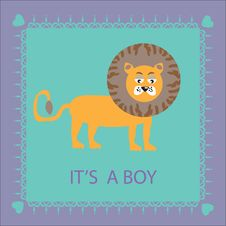 Beautiful Birthday Card With A Cute Cartoon Lion Stock Photos