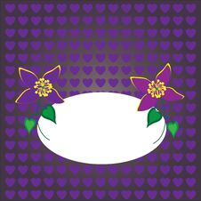 Beautiful Floral Card On A Purple Background Stock Images