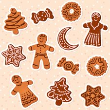 Free Holiday Gingerbread Set Stock Image - 32281941