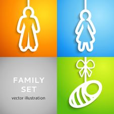 Free Set Of Applique Family Icons. Vector Illustration Royalty Free Stock Photo - 32281985