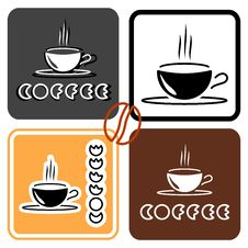 Free Coffee Cup Logo Set Royalty Free Stock Image - 32292216
